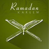 Open religious book Quran Shareef on shiny green background for holy month of Muslim community Ramadan Kareem.  poster