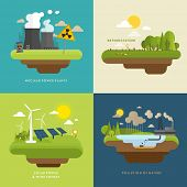 Ecology Concept Vector Icons Set for Environment, Green Energy and Nature Pollution Designs. Nuclear Power Plant and Deforestation. Flat Style. poster