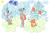 fairy tale forest with different wild animals, kids drawing poster