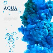 Aqua blue swirling ink in water template with bubbles poster