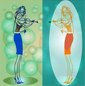 Two violinists.The girl in all growth plays a violin. Decollete, tight skirt and high heel. poster