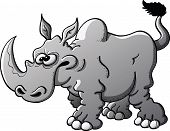 Furious gray rhinoceros with a big horn, crossed eyes and pointy ears while raising its tail, pawing the ground and preparing to charge poster