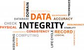 A word cloud of data integrity related items poster