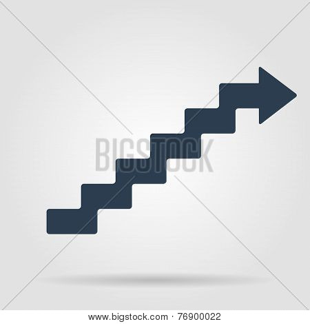 staircase symbol on gray background