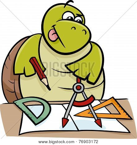 Turtle With Calipers Cartoon Illustration