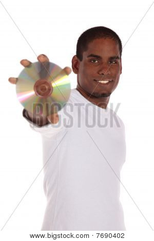 Attractive man holding dvd