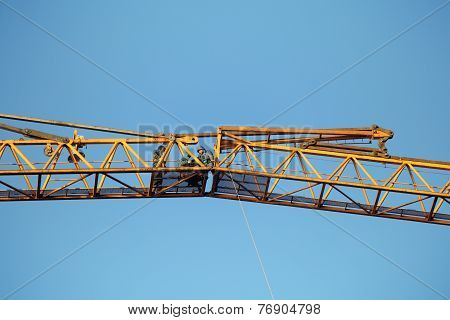 Mounting Works On Connection Of Hoisting Jib Sections Tower Crane.