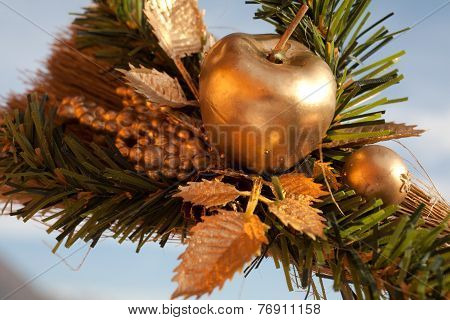 Artistic Decoration Mady Of A Golden Apple And Green Plant