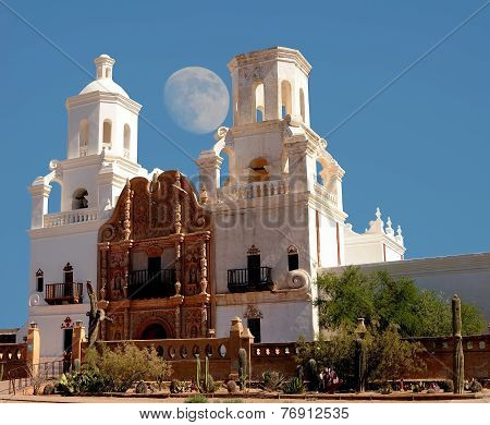 Spanish mission San Xavier moon rise started in 1692 by Spanish missionaries in the Americas poster
