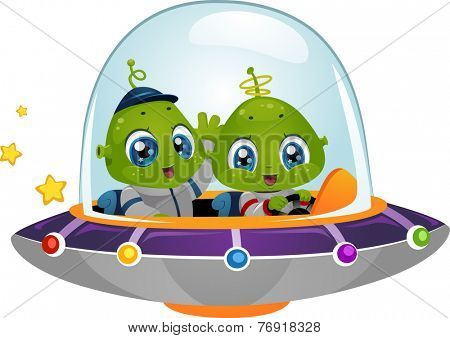 Illustration Featuring Cute Little Aliens Driving a Spaceship