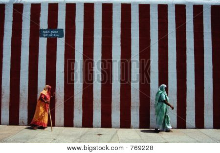 Indian women walking to the temple