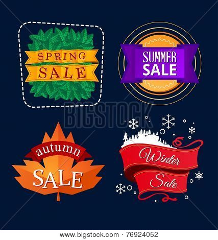 various colorful banner and tittle template for seasonal sale event poster
