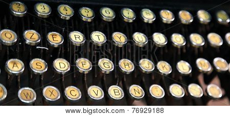 Keyboard Of An Old Typewriter Used In The 40S