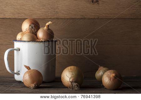 onions with vintage iron mug