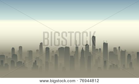 Illustration Of Big City In Haze.