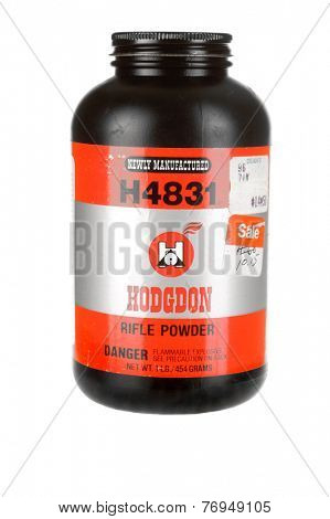 Hayward, CA - November 23, 2014: 1 lb Plastic container of Hodgdon H4831 gunpowder