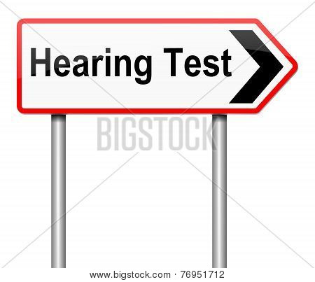 Illustration depicting a sign with a hearing test concept. poster