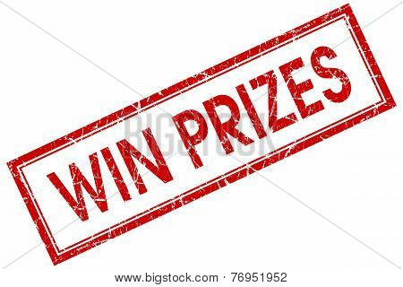 Win Prizes Red Square Stamp Isolated On White Background