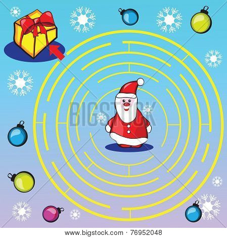 Maze game or activity page for kids - Help Santa to choose the right way to gifts poster