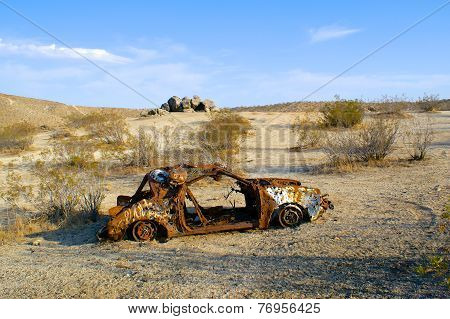 Rusted And Burned Out Car