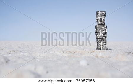 Tiwanaku monolith in salt desert, Salar de Uyuni, Bolivia