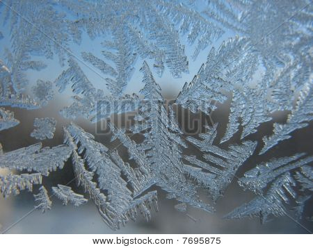 Snow pattern on winter window