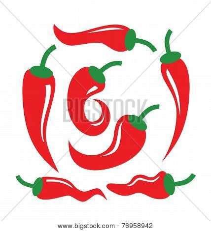 vector color illustration of Chili Peppers on white poster