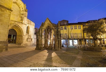 Oliveira square with church and Padrao do Salado monument, Guimaraes, Portugal