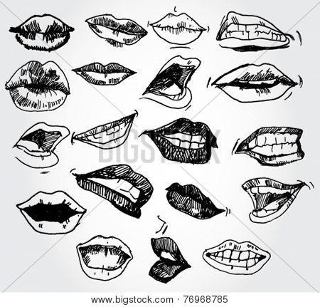 Set of Lips Hand Drawn
