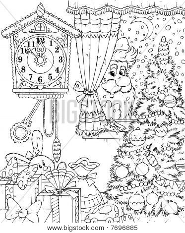 Black And White Illustration Coloring Page Santa Claus Peeps Into A Window Of Christmas Decorated Room