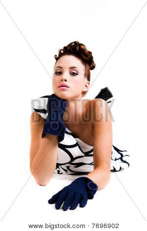 Young Woman In Haute Couture Attire - Isolated