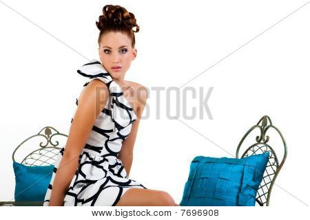 Young Woman Sitting On Table - Isolated