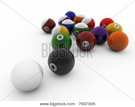 Poolballs On White Background