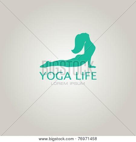 Vector illustration for your company logo. Yoga sign. Girl in yoga pose cobra