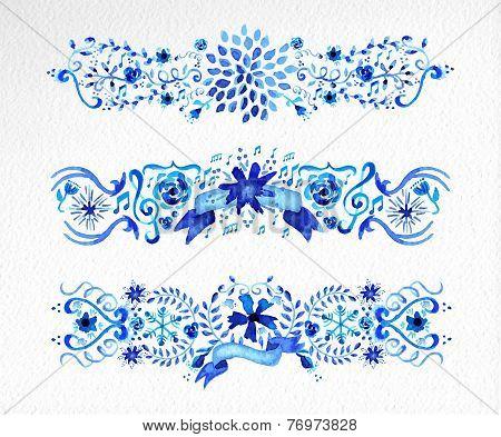 Watercolor Flowers Ornament Set