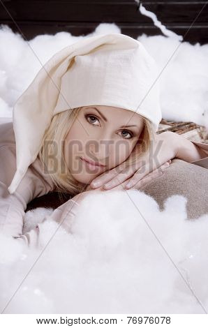 Girl In Pajamas Going To Sleep