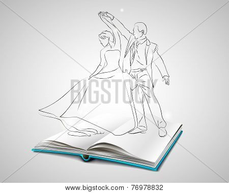 Open book with a blue cover about dancing