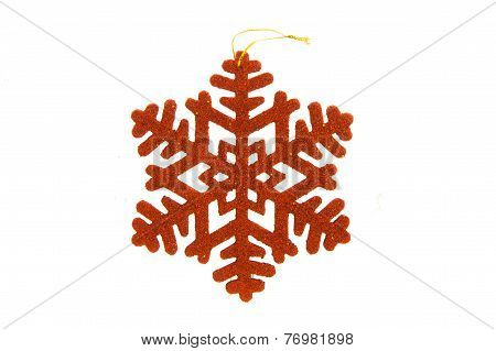 Red Snowflake On White Background