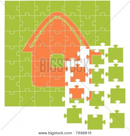 The house collected from puzzles