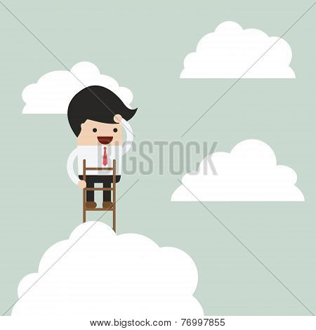 Businessman Climbing Up A Ladder To Above The Clouds And Looking Far Away, Vision Concept
