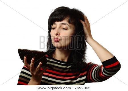 Beautiful Woman Pats Her Hair, Isolated On White