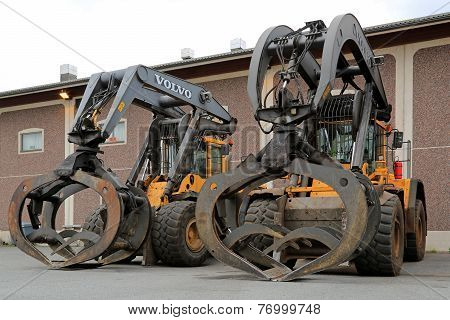 Two Volvo Loading Shovels For Log Handling