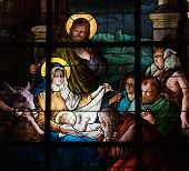 Stained glass window created by F. Zettler (1878-1911) at the German Church (St. Gertrude's church) in Gamla Stan in Stockholm, depicting a Nativity Scene. In the public domain. poster