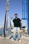 angler fish catch albacore tuna and spearfish mediterranean poster