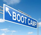 Illustration depicting a sign with a boot camp concept. poster