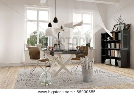 Contemporary Architecture Interior Design of a Spacious White Office with Bookshelves at the Corner. 3d Rendering