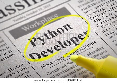 Python Developer Vacancy in Newspaper.