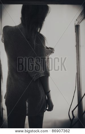 Backrest Of Beautiful Young  Long-haired Woman