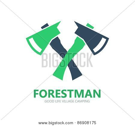 Forest axe logo or symbol icon
