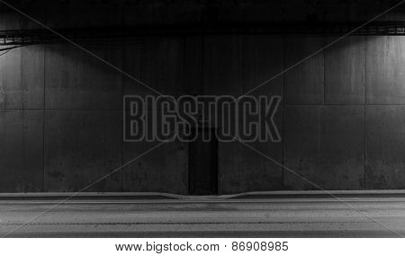 Tunnel road area, black door in the wall poster